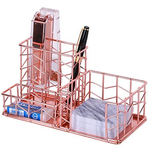 (Desk Organizer, Nugorise 3 Compartment Metal Desktop Organizer - Pen, Memo, Business Card Holder, Decorative Wire Desk Supplies Organizer Storage for Home, Office and School, Rose Gold)