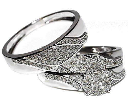 10K White Gold Genuine Diamond Trio Wedding Set 1/2cttw His And Her Rings(i2/i3, i/j)