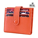 Reeple Women's RFID Blocking Small Compact Bifold Leather Pocket Wallet with ID Window(Orange)