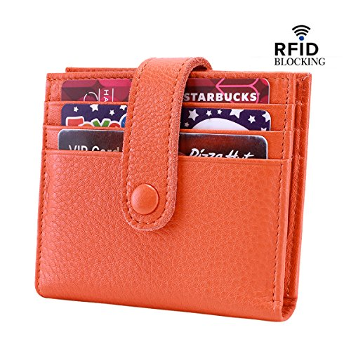 Reeple Women's RFID Blocking Small Compact Bifold Leather Pocket Wallet with ID Window(Orange) by Reeple