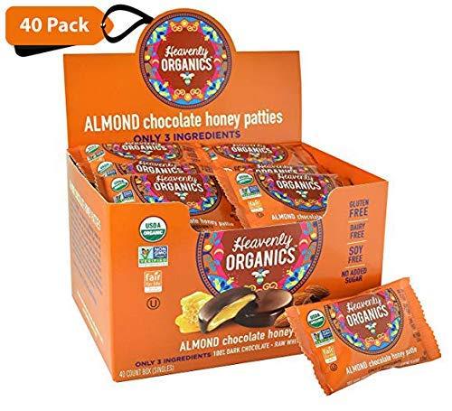 Heavenly Organics Almond Chocolate Honey Patties, (40 Singles) Made with 100% Organic Cocoa and 100% Organic Raw White Honey; Non-GMO, Fair Trade, Kosher, Dairy & Gluten Free, No Sugar Added