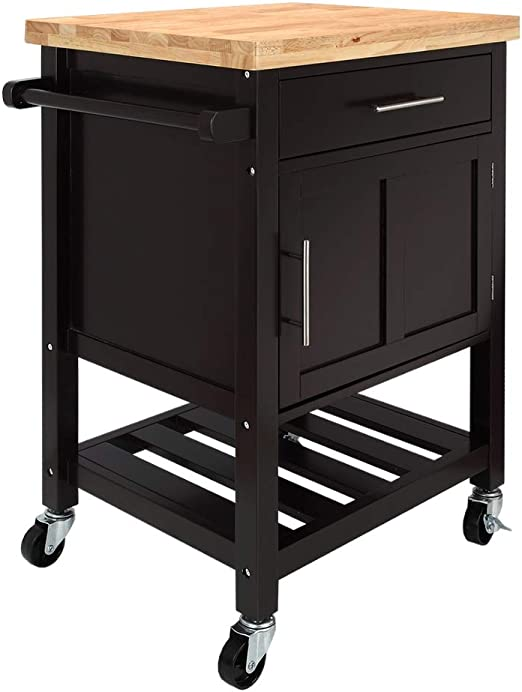 Homegear Kitchen Cart Butchers Block with Shelf and Cabinet on Wheels Brown