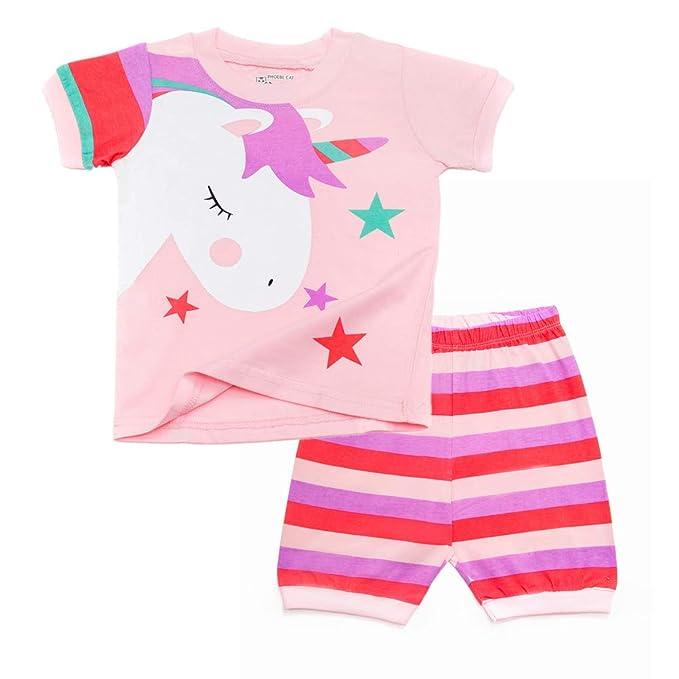 Amazon.com: Pijama de unicornio para niñas pequeñas, pijamas ...