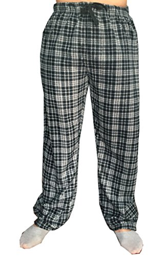 Gs-eagle Men's Plaid Fleece Pajamas Lounge Pants XLarge Charcoal-Black (Lounge Fleece Pants Plaid)