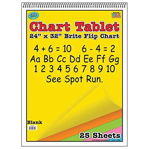 - Top Notch Teacher Products TOP3822 Unruled Assorted Colors Brite Chart Tablet, 0.5