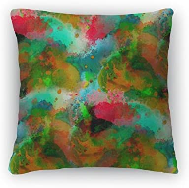 Gear New Green Red Yellow Macro Watercolor Paint Throw Pillow, Poplin, 26×26, GN4040