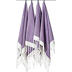 "(Set of 4) Unique Hand Face Towel Set 100% Turkish Cotton 20""x31"" Pestemal Peshtemal Fouta Kitchen Bath Spa Pool Massage Sauna Beach Yacht Fitness Yoga Picnic Beach Travel Light Baby Unisex - Purple"