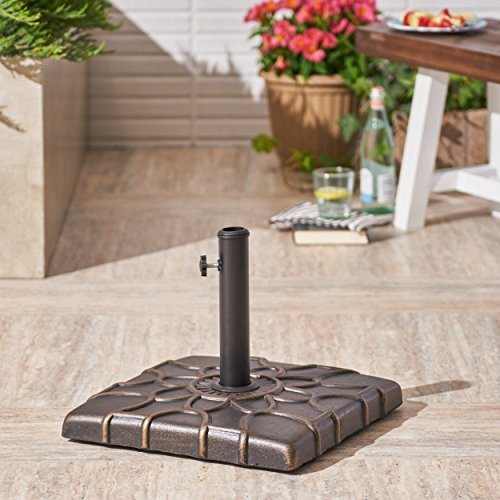 (Christopher Knight Home Great Deal Furniture | Ishtar | Outdoor Concrete Square Umbrella Base | 55LBS | in Hammered Dark Copper)