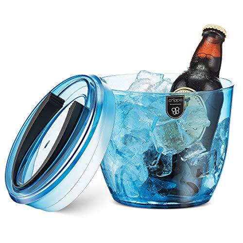 Crippa Small Ice Bucket | 2-Quarts Premium Ice Bucket With Lid & Tongs | Heavy-duty Plastic Ice Cube Bucket for Mini-Bar & Parties | Blue