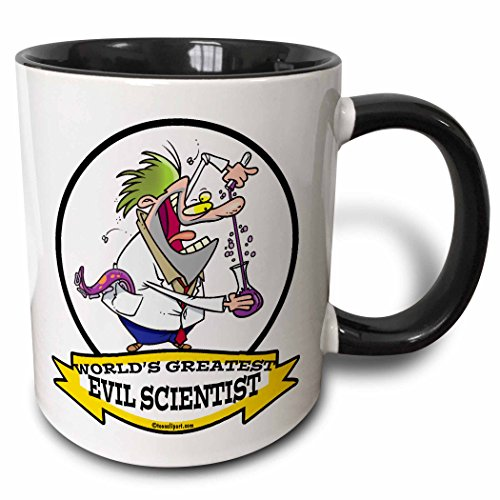 3dRose Dooni Designs Worlds Greatest Cartoons - Funny Worlds Greatest Evil Scientist Cartoon - 15oz Two-Tone Black Mug (mug_103161_9) -