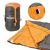 Milestone Camping 26750 Envelope Sleeping Bag Double 3 Season Double Insulation Grey & Orange