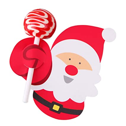 canghai 50 pcs christmas cake toppers santa claus lolipop cake cupcake toppers party decoration - Christmas Cake Decorations Amazon