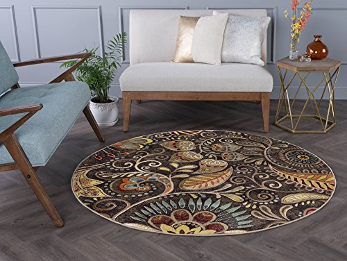 Giselle Contemporary Abstract Brown Round Area Rug, 8' Round