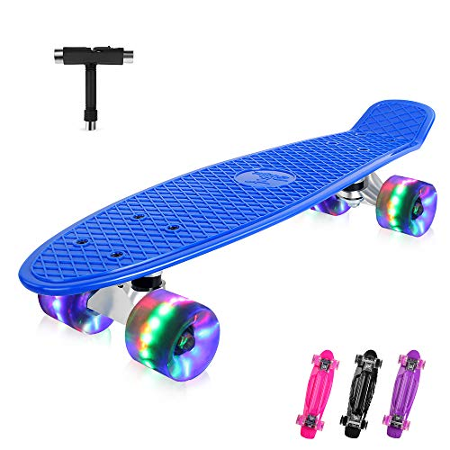 BELEEV Skateboard 22 inch Complete Mini Cruiser Retro Skateboard for