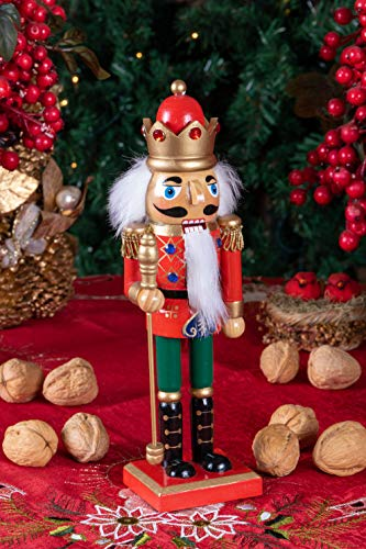 Clever Creations Christmas King Nutcracker | Red, Green, and Gold Uniform with Scepter | Festive Christmas Decor | Traditional Wooden Design Great for Any Collection | 10