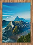 Volcano Area Rug by Lunarable, Mount Bromo Volcano During Sunrise in East Java Indonesia Majestic Nature, Flat Woven Accent Rug for Living Room Bedroom Dining Room, 5.2 x 7.5 FT, Sky Blue Green White