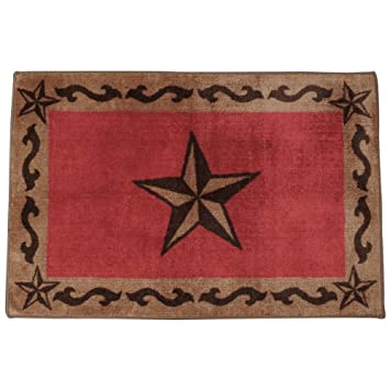 Red Star Bath Western Rug   Rustic Decor