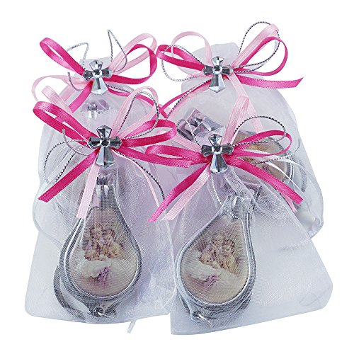 12 Pcs Baptism Keychain with Nail Clipper and Opener Party Favors for Girl -Bautizo Recuerdos / Baby Angel Design in Decorated Pouches -