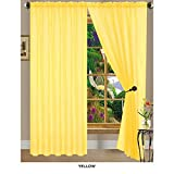 J&V TEXTILES Anna Yellow44; Solid Sheer Voile Curtain Panels