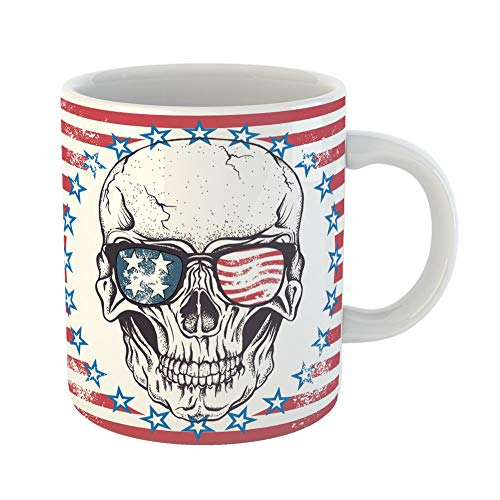 Emvency Coffee Tea Mug Gift 11 Ounces Funny Ceramic American Face of Skull Sunglasses Abstract Usa Flag Vintage Gifts For Family Friends Coworkers Boss Mug