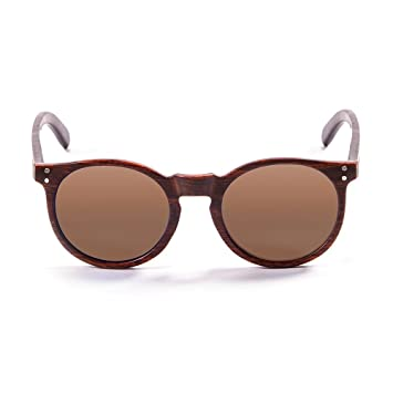 Ocean Sunglasses Lizard Lunettes de Soleil Mixte Adulte, Bambo Dark Frame/Wood Natural White/Brown Arms/Brown Lens