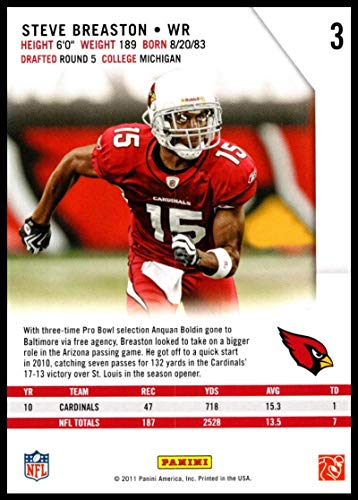 e73997c22 Amazon.com  2011 Rookies and Stars  3 Steve Breaston NM-MT Cardinals   Collectibles   Fine Art