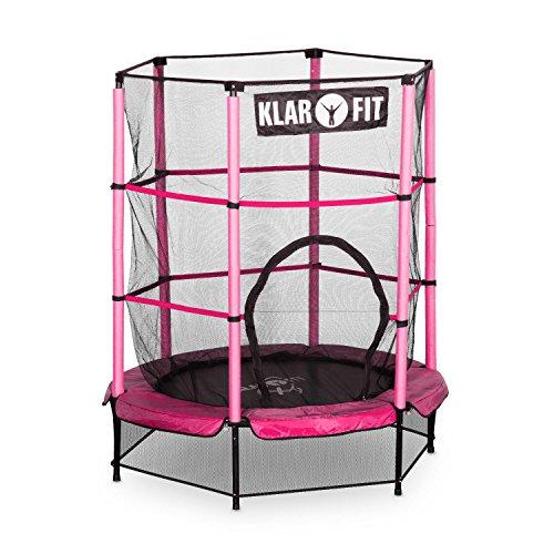 Klarfit Rocketkid Trampolin Minitrampolin Indoortrampolin Gartentrampolin (für Kinder ab 3 Jahren, 140cm Durchmesser, bis 50 kg, komplett verschließbares Sicherheitsnetz) pink
