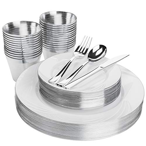 Elegant Silver Plastic Plates Set - 25 Guests 150 Pieces - Includes Heavy Duty Disposable Plates, Silverware, Cups - Fancy Plastic Plates for Parties, Wedding, Christmas, Dinner Party, Thanksgiving (For Dinner Christmas Dessert)