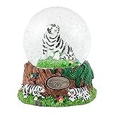 White Siberian Tigers 100mm Resin Glitter Water Globe Plays Tune Impromptu