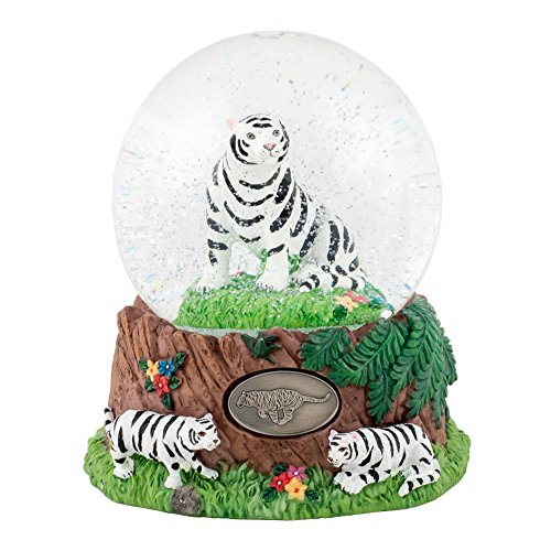 White Siberian Tigers 100mm Resin Glitter Water Globe Plays Tune ()