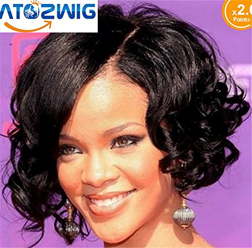 [ATOZWIG Black Women Wig Fashion style Black Curly Synthetic Wig Pure color Short Curly Wigs Shoulder Length Short Hair] (Cheap Color Wigs)