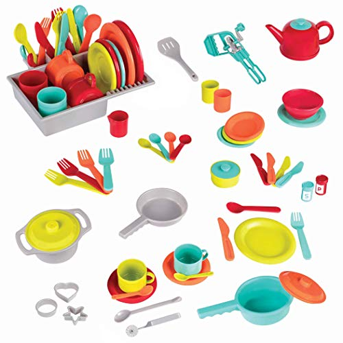 Battat - Deluxe Kitchen - Pretend Play Accessory Toy Set (71 Pieces Including Pots & Pans)