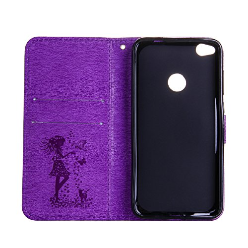 Funda Huawei P8 Lite(2017), Funda de brillo Huawei P8 Lite(2017),Lifetrut Sólido Shiny Sparkle Libro de Estilo de Cuero con Ranura para Tarjetas de Cierre Magnético Soporte Funda de Teléfono de la Fun E205-Púrpura