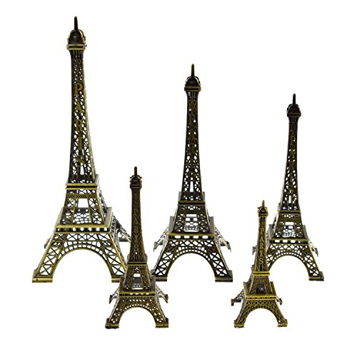 (DerBlue 5pcs Eiffel Tower Statue, Metal Paris Eiffel Tower Decor Figurine Replica,Drawing Room Table Decor Stand Holder for Cake Topper,Gifts,Party and Home)