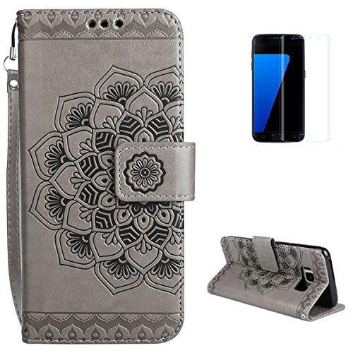 Samsung Galaxy S8 Wallet Case [with Free Screen Protector] KaseHom Premium Flip Leather Holster Retro Mandala Embossed Design [Card Slot] Magnetic Folio Cover for Samsung Galaxy S8 Grey]()