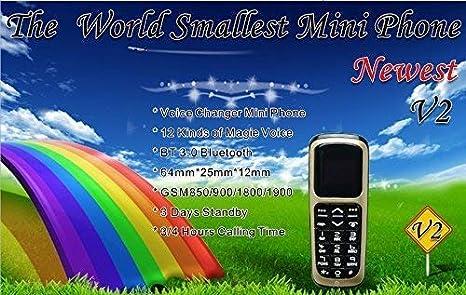 Dorado Long CZ V2 3 en 1 El tel/éfono m/ás peque/ño del Mundo Tel/éfono con Bluetooth Bluetooth para Auriculares Tarjeta Micro SIM 18 Gramos
