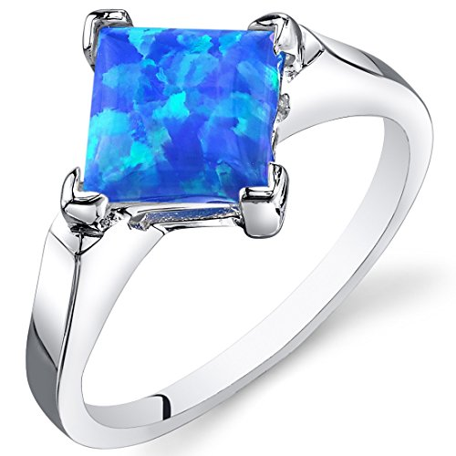 Created Blue-Green Opal Ring Sterling Silver Princess Cabochon 1.50 Carats Size 7 ()
