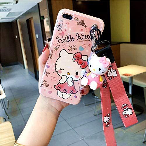Twinlight Cute Stitch Pooh Pig Mickey Minnie Mouse Hello Kitty Phone Cases for iPhone 7 8 Plus XS MAX XR X Cartoon Case+ Toy +Strap (Style1, for iPhone 7plus 8plus)