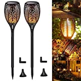 Solar Torch Lights with Flickering Flames Pack of 2 Waterproof Solar Lights Outdoor Landscape Decoration Lighting 96 LED Dusk to Dawn Auto On/Off Security Torch Light for Path Garden Pathway Pa