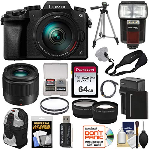 Panasonic Lumix DMC-G7 4K Wi-Fi Digital Camera & 14-140mm + 25mm f/1.7 Lens + 64GB Card + Battery + Flash + Tripod + Backpack + Tele/Wide Lens Kit Review