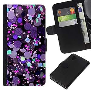 KingStore / Leather Etui en cuir / LG Nexus 5 D820 D821 / Crystal púrpura del hexágono Brillante;
