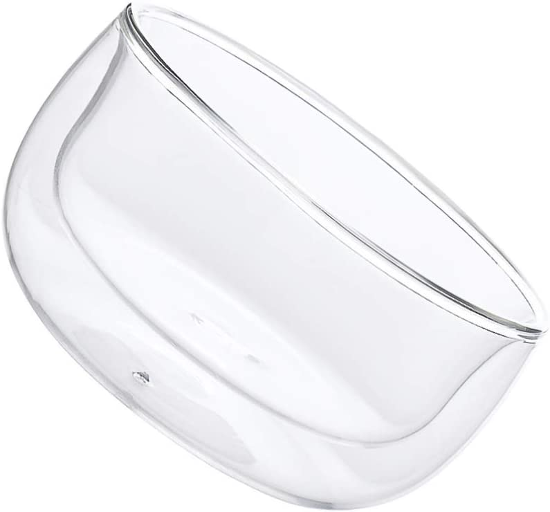 HEMOTON Double Layer Glass Bowl Glassware Cereal and Soup Bowls Dessert Pie Plates Salad Plate for Home Kitchen Keeps Food Hot Cold and Safe to Touch 350ml