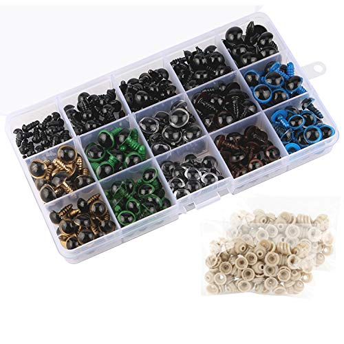 264pcs 6-12mm Black Plastic Safety Eyes + 10/12mm Colorful Safety Eyes with Washers for Doll Animal Crafts, Teddy Bear, Stuffed Animals,Puppet,Doll Making