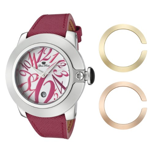 Glam Rock Women's GR32081 SoBe White Dial with Multi-Colored Numerals Dark Pink Leather Watch