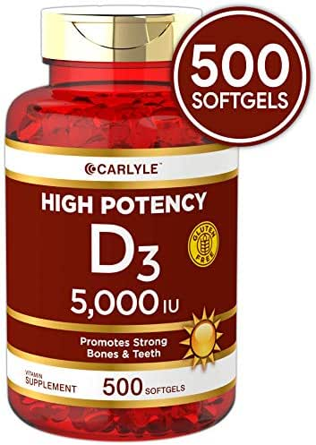 Vitamin D3 5000 IU 500 Softgels | Huge Size | Non-GMO, Gluten Free Supplement | by Carlyle