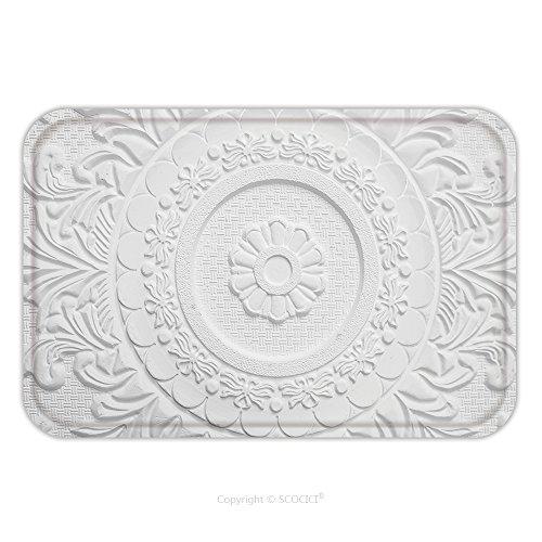 Flannel Microfiber Non-slip Rubber Backing Soft Absorbent Doormat Mat Rug Carpet Old Antique White Plaster Ceiling Plate Vintage Victorian Style 508695877 for Indoor/Outdoor/Bathroom/Kitchen/Workstati