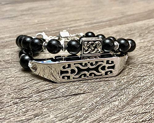 Luxury Set Two Onyx Stones Bracelets for Fitbit Flex 2 Fitness Tracker Handmade Natural Gemstone Beads Fitbit Flex 2 Fashion Bands With Silver Celtic Knots Charm & Metal Jewelry ()