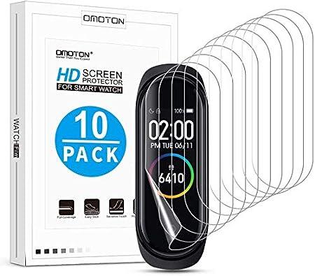 OMOTON [10 Piezas Protector Pantalla Compatible con xiaomi MI Band 4, Protector Pantalla de TPU con [NO Vidrio] [HD Clear][Sin Burbujas][Reducir Huella Digital]