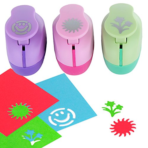 Paper Punch Hole Puncher -- (3 PACK Flowers Sun Happy Face) -- Personalized Paper Craft Punchers Shapes Set -- For Scrapbook Engraving Kids Artwork -- Greeting Card Making DIY Crafts