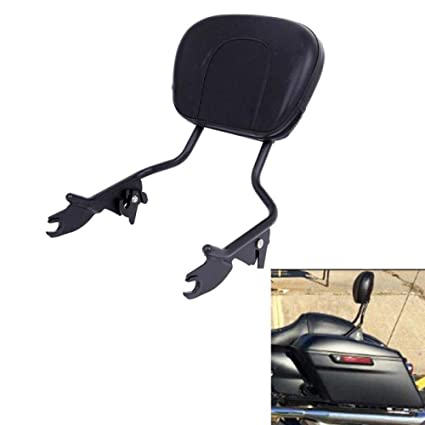 Gloss Black Detachable Passenger Backrest Sissy Bar Triple Polished w//Pad For Harley Touring Road King Electra Road Street Glide 2009-2019